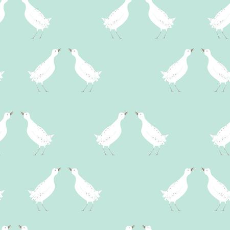 봄 조류 원활한 패턴 일러스트