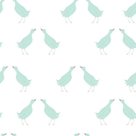 Spring birds seamless pattern Illustration
