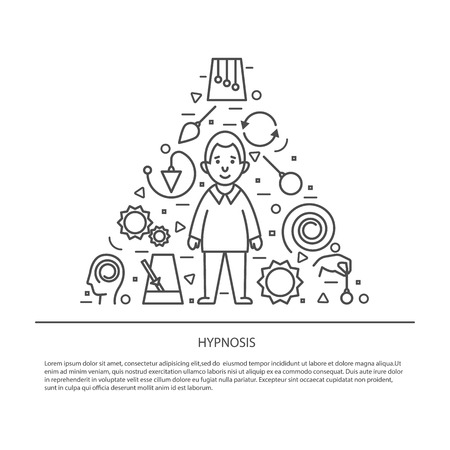 Hypnosis concept. Mind control. Vector illustration flat design. Isolated on background,