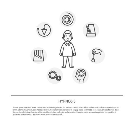 pendulum: Hypnosis concept. Mind control. Vector illustration flat design. Isolated on background,