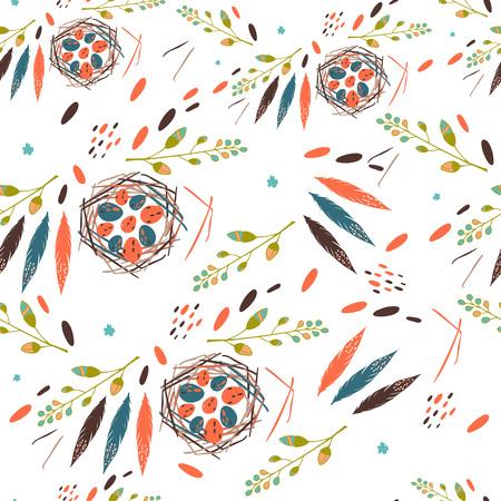 봄 꽃과 함께 아름 다운 원활한 패턴 계란 및 깃털 조류 중첩 밝은 그림 결혼식 용지, 벽지, 섬유, 초대장 카드, 배치에 사용할 수 있습니다.