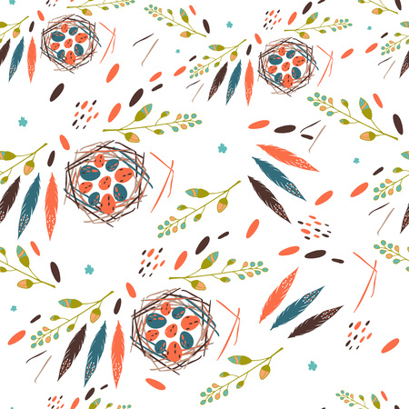 Beautiful seamless pattern with spring flowers bird nests with eggs and a feather Bright illustration, can be used for wrapping paper, invitation card for wedding,wallpaper and textile.