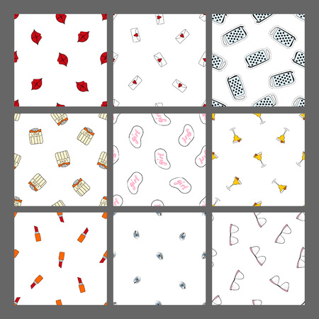 Cute set hand drawn seamless pattern with different patch. They can be used to decorate your print designs: packing design, cards, wrapping paper; textile: t-shirts, towels, cushions; web designs: blogs, banners, backgrounds.