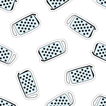 Cute hand drawn seamless pattern with different patch. They can be used to decorate wrapping paper; textile: t-shirts towels cushions blogs backgrounds. Ilustração