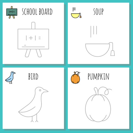 Coloring pages symbols of autumn Illustration