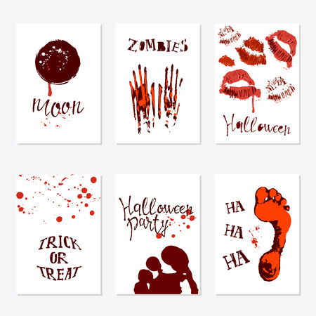 Vector set of Halloween poster designs with halloween symbols and calligraphy. Scary halloween card. Party invitation design greetings, words and phrases.