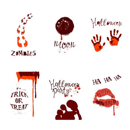 A set of designs with halloween symbols on plain background. Иллюстрация