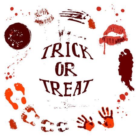 Diseños de carteles de Halloween con símbolos de Halloween y caligrafía. Tarjeta de halloween de miedo. Invitación fiesta diseño saludos, palabras y frases. Foto de archivo - 86635160