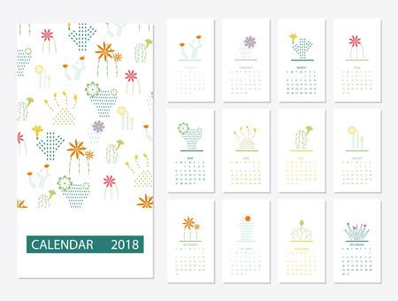 2018 カレンダー テンプレート  イラスト・ベクター素材