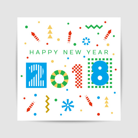 Happy New Year 2018 greeting card, poster, brochure template. Illustration