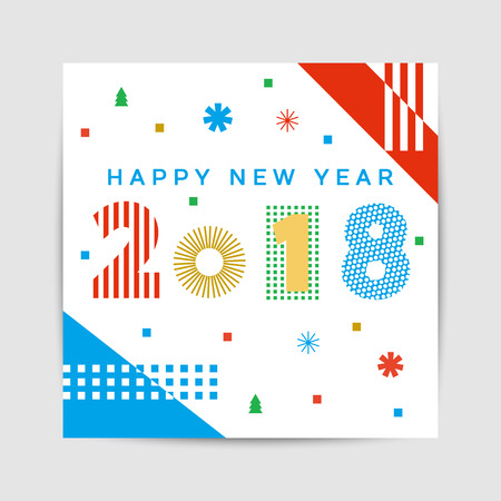 Happy New Year 2018 greeting card, poster, brochure template