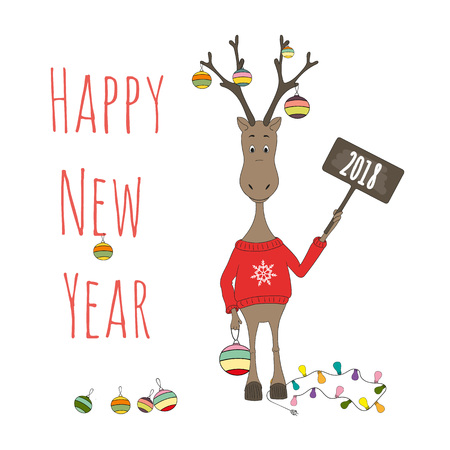 Happy New Year 2018 greeting card, poster, brochure template with a deer