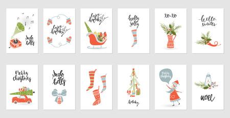 Set christmas gift card designs.