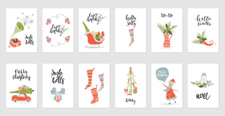 Set christmas gift card designs.