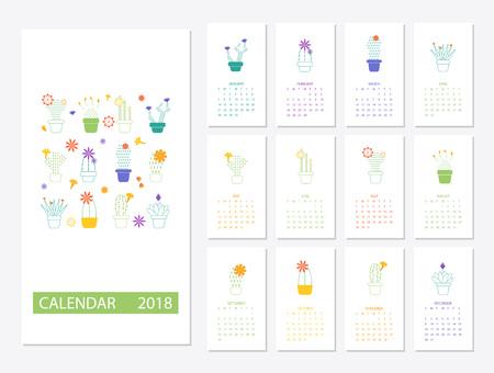 Calendar 2018 template Illusztráció