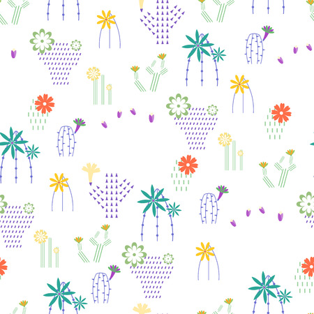 Seamless pattern with different cactus and succulents vector illustration