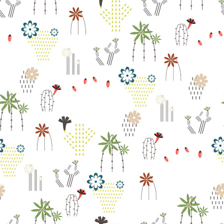 Seamless pattern with different cactus and succulents icon symbol design vector illustration Illusztráció