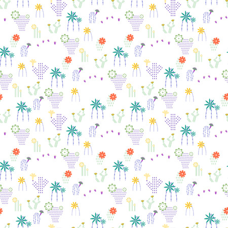Seamless pattern with different cactus and succulents Imagens