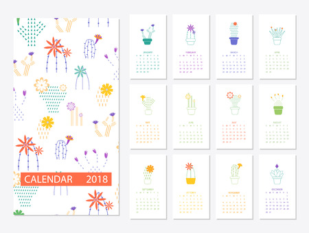 Calendar 2018 template Stock Photo
