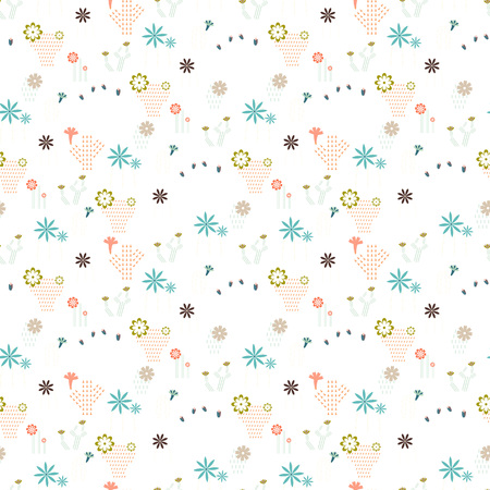 Seamless pattern with different cactus and succulents icon symbol design vector illustration Ilustração