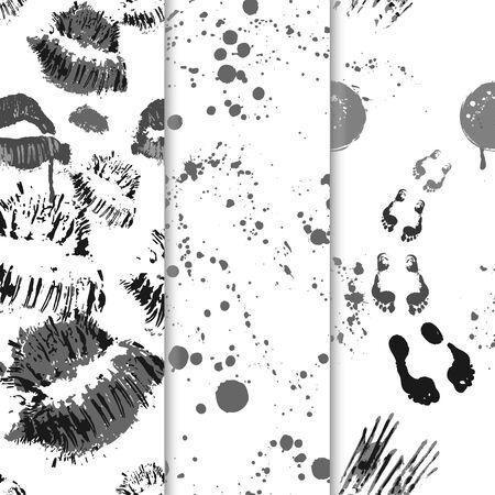 Set seamless halloween pattern grunge shapes vector illustration