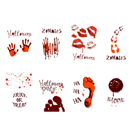 set of designs with halloween symbols