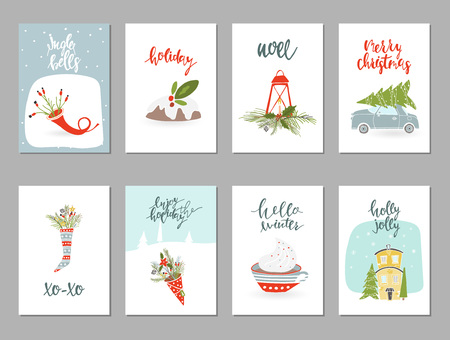 Collection of 8 Merry Christmas and Happy New Year gift cards. Set of hand drawn holiday template for