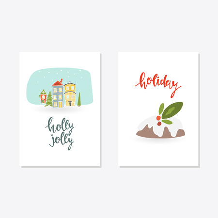 Greeting Card with christmas toys. Holly Jolly holiday lettering Template for New 2018 Year Cards and Merry Christmas Illustration