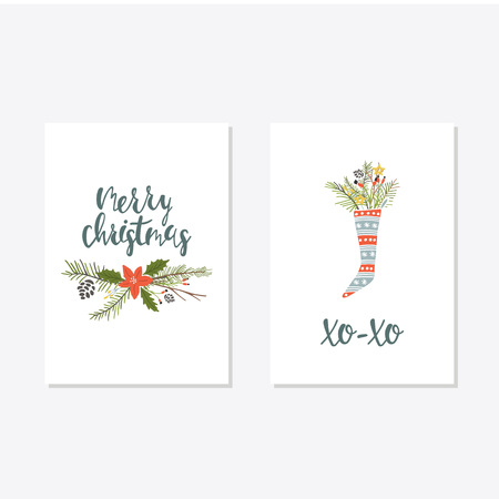 Greeting Card with christmas toys. Merry Christmas Xo xo lettering Template for New 2018 Year Cards and Merry Christmas
