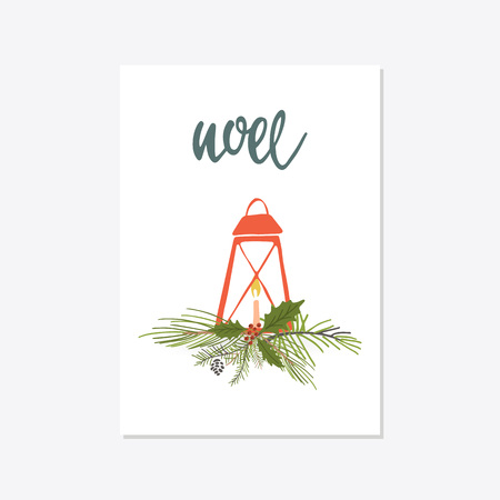 Greeting Card with christmas toys. NOEL lettering Template for New 2018 Year Cards and Merry Christmas Illustration