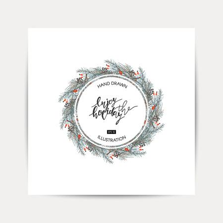Hand drawn Christmas card. Elegant minimalist holiday card. enjoy the holiday