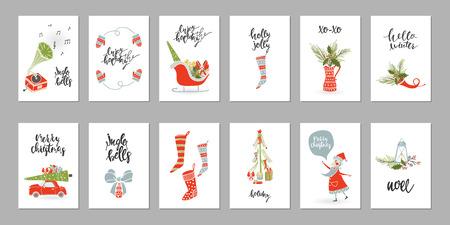 Collection de cartes-cadeaux de noël Banque d'images - 91218458