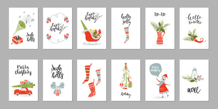 Collection Merry Christmas gift cards Illustration