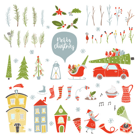 Collection Merry Christmas And Happy New Year elements. Greeting stylish illustration of winter toys, decoration, flowers, leafs, lettering. Banque d'images - 91267368