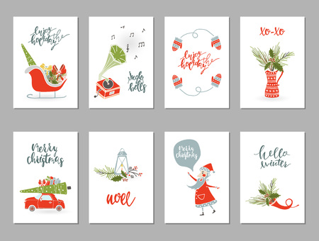 Collection Merry Christmas gift cards Stock Photo