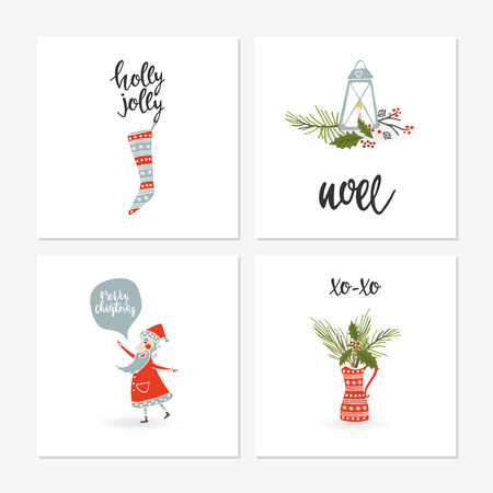 Greeting Card set with Christmas elements vector illustration Çizim