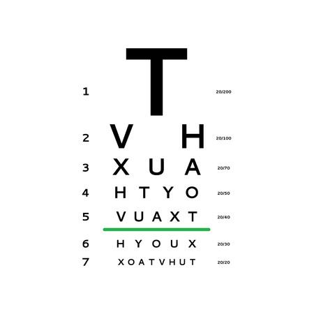 Eye test chart vector illustration Vettoriali