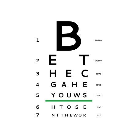 Eye test chart vector illustration Stock Illustratie