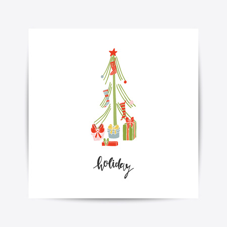 Greeting Card with Christmas toys vector illustration.