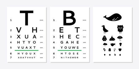 Various versions of the table for eye tests the adult and childrens options isolated on white background. Vision test board optometrist.