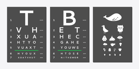 Various versions of the table for eye tests the adult and children's options isolated on black background. Vision test board optometrist.