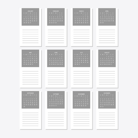 2018 Calendar template on a white background.