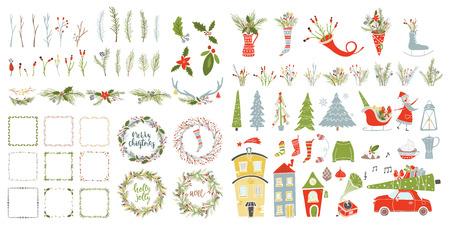 컬렉션 메리 크리스마스와 행복 한 새 해 요소입니다. 인사말 겨울 장난감, 장식, 꽃, 세련 된 그림 leafs, 글자. 일러스트