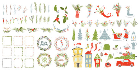 Collection Merry Christmas And Happy New Year elements. Greeting stylish illustration of winter toys, decoration, flowers, leafs, lettering.