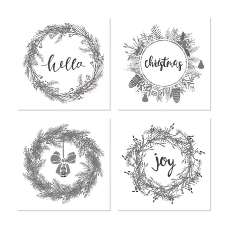 Elegant calligraphic lettering phrases with wreaths. Illustration