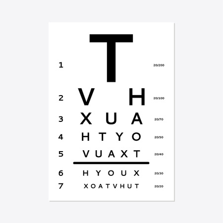Eye test chart isolated on white background. Ilustração