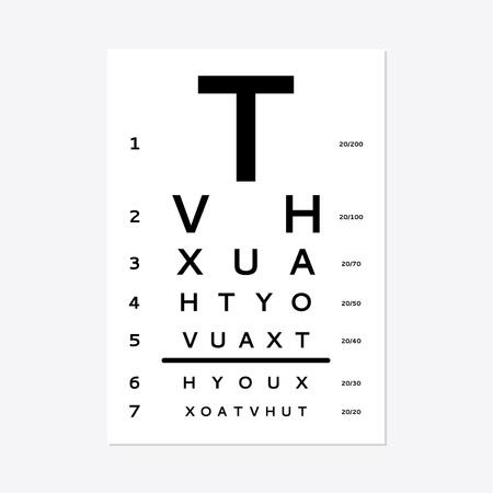 Eye test chart isolated on white background. Illustration
