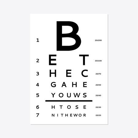 Eye test chart isolated on white background.  イラスト・ベクター素材
