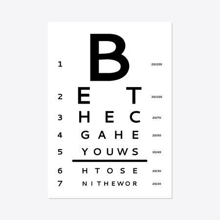 Eye test chart isolated on white background. Vettoriali