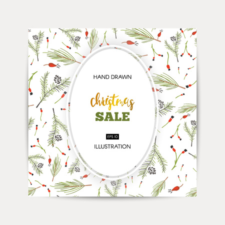 Winter shopping sale template illustration.